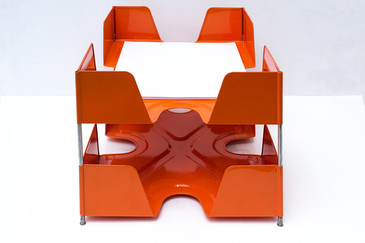 SOLD-1920s Double Tier Letter Tray, Tangerine