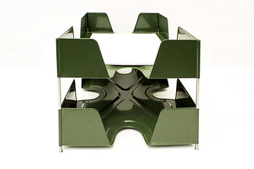 SOLD - 1920s Double-Tier Letter Tray, Olive Green