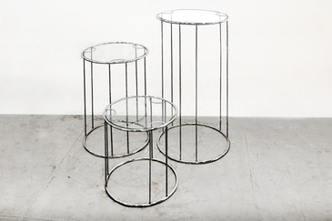 SOLD - Milo Baughman Chrome & Glass Nesting Tables. C. 1960