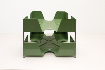 SOLD - 1920s Double Tier Letter Tray, Sage Green