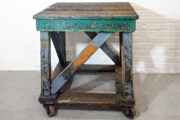 SOLD - 1920s Wood Rolling Factory Table
