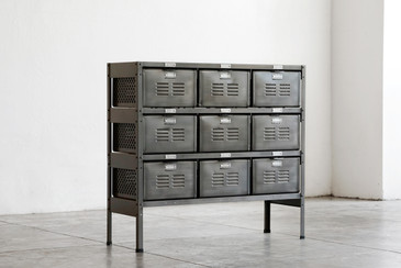 3 x 3 Vintage Locker Basket Unit in Monochrome Natural Steel