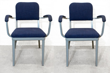 SOLD - Set of Two Cole Steel Tanker Armchairs. c. 1955