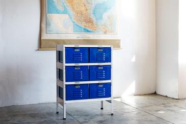 2 x 3 Vintage Locker Basket Unit with Blue Drawers