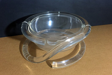 Rare Dorothy Thorpe Lucite Pretzel Stand with Orb Dish