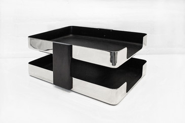 SOLD - Vintage McDonald Chrome Two-Tier Letter Tray