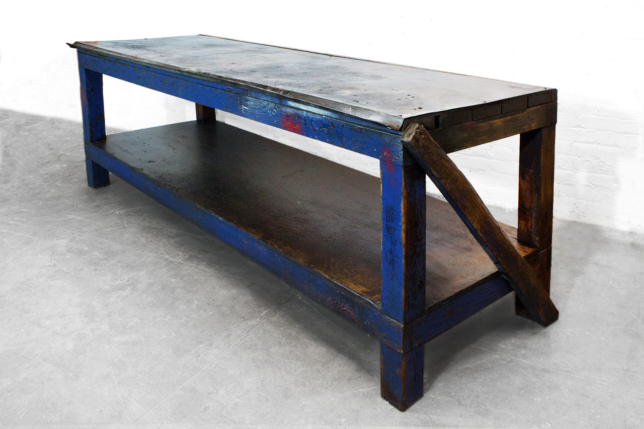 Sold 1940s Industrial Wood And Metal Workbench Rehab