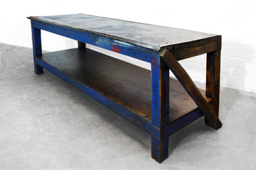 SOLD - 1940s Industrial Wood and Metal Workbench