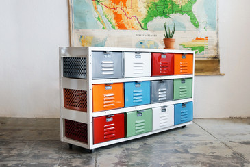 4 x 3 Vintage Locker Basket Unit, Multicolored with Casters