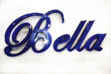 """SOLD - Vintage Aluminum """"Bella"""" Sign in Script C. 1950"""