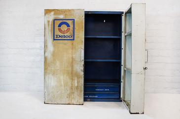 SOLD - Vintage Delco Parts Display Cabinet, 1960s