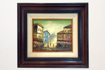 European Street Scene Painting Signed S. Tarr