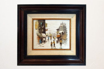 Asian Street Scene Painting by L. Wong