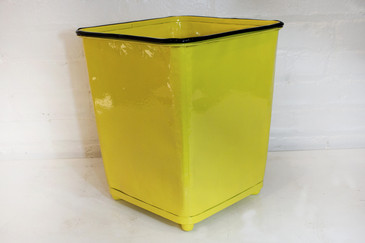 SOLD - Machine Age Steel Trash Can in Canary Yellow, circa 1930s