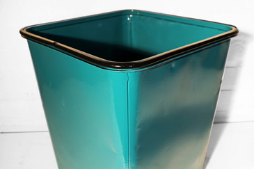 SOLD - Machine Age Steel Trash Can in Teal, circa 1930s