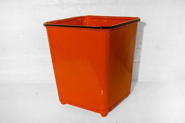 SOLD - Machine Age Steel Trash Can in Safety Orange, circa 1930