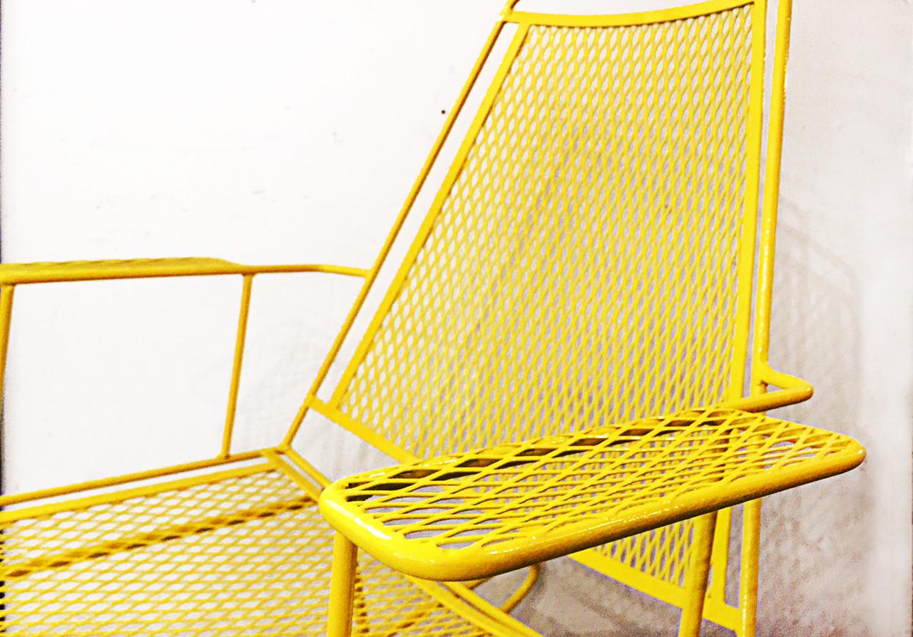 Sold Mid Century Metal Mesh Patio Rocking Chair Rehab