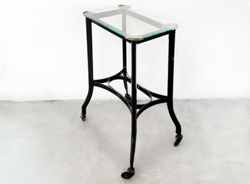 SOLD - Art Deco Metal Rolling Side Table with Glass Top, 1920s
