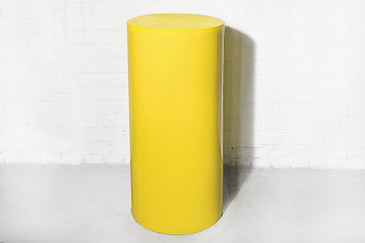 SOLD - Round Metal Pedestal in Canary Yellow, circa 1970s