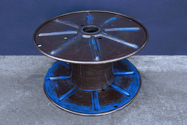 SOLD - Vintage Steel Cable Spool Navy Blue, circa 1960s