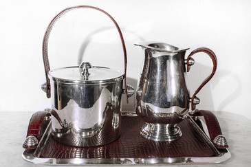 SOLD - Sheffield Silver and Leather Bar Service Set