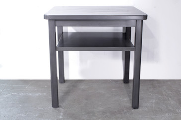SOLD - Steel Tanker SIde Table With Shelf. C 1960s