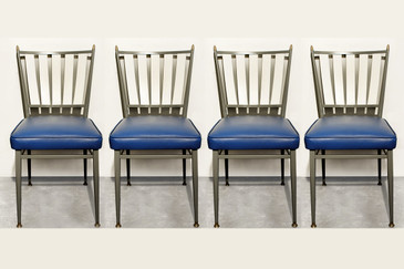 Set of Four Chromecraft 1950s Slat Back Dinette Chairs