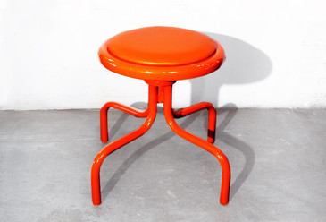 SOLD - Vintage Counter Stool in Electric Orange, 1960s