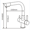 Girona Three Way (Triflow) Filter Tap - Dimensions