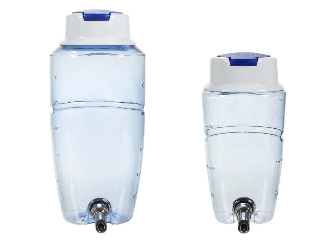 The two sizes of Quick Fill Water Bottles shown together