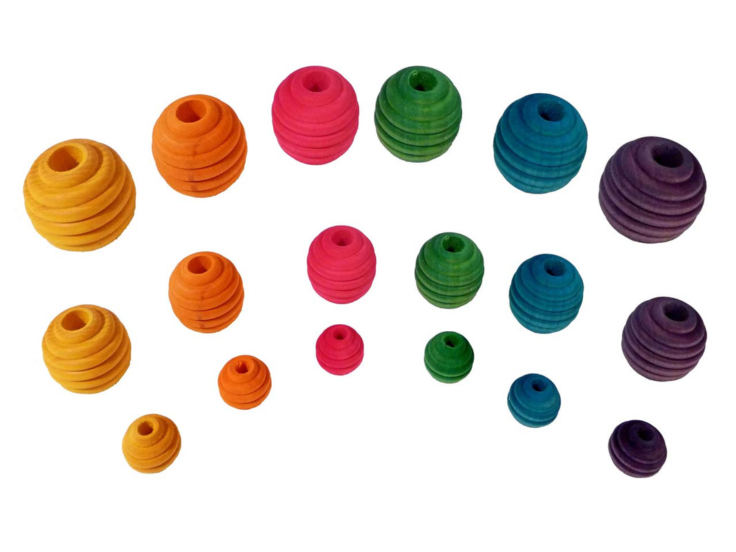 The three sizes of beehive beads shown together