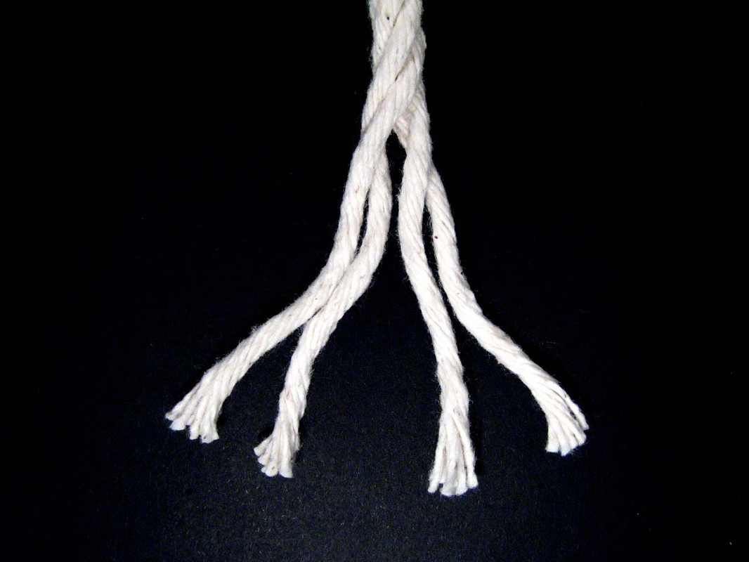 """1/4"""" Cotton Rope divided into its four strands"""