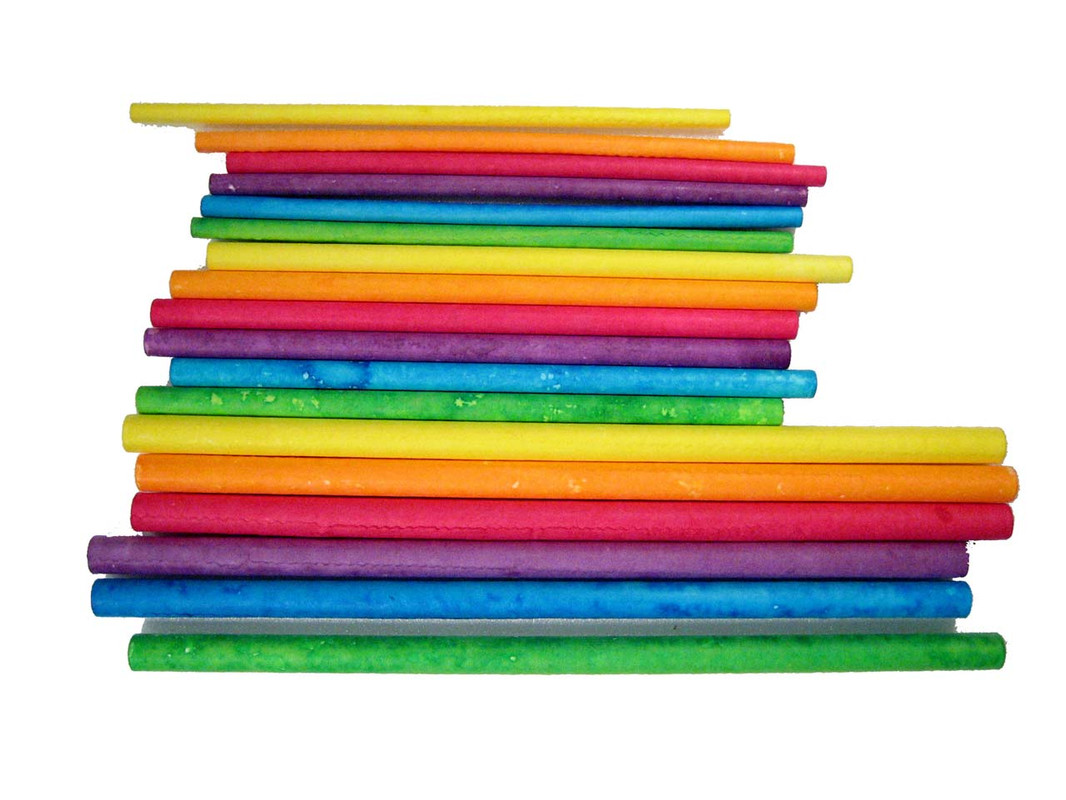 The sizes of paper sticks shown together