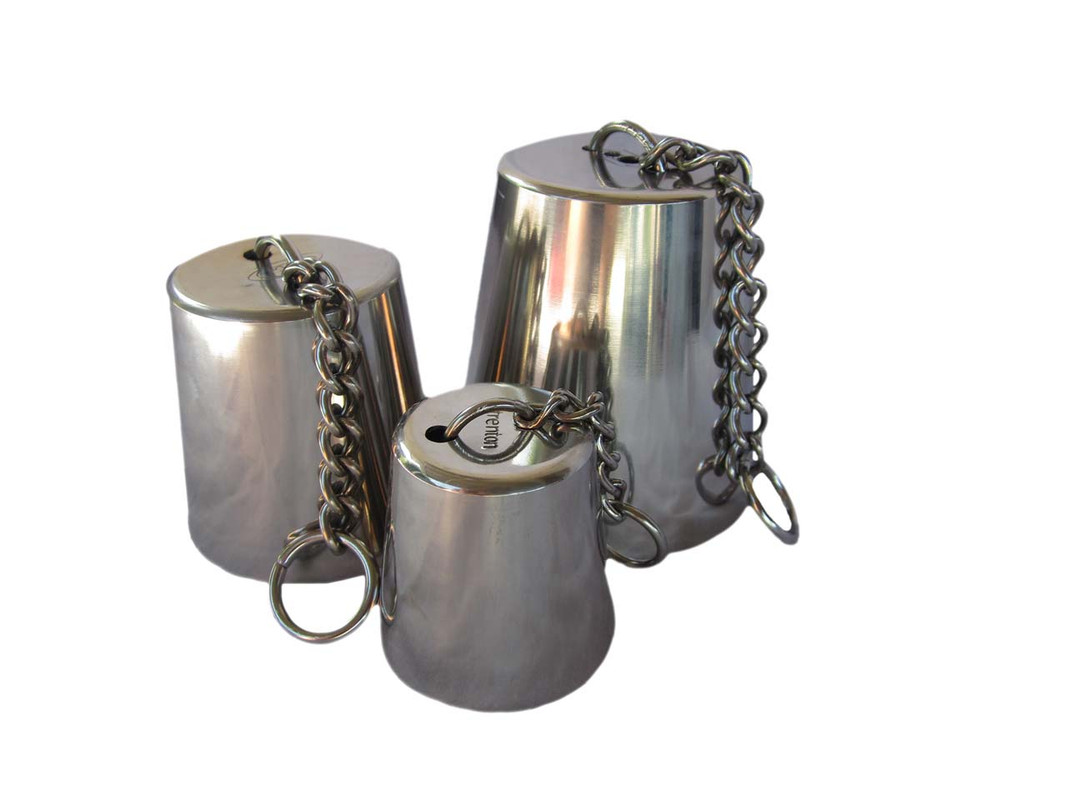 The three sizes of Stainless Steel Bell shown together
