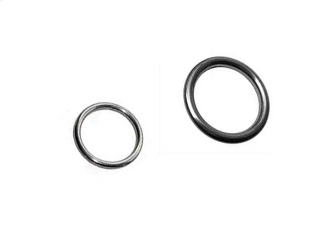 The two sizes of welded O Rings shown together