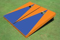 Blue And Orange Matching Triangle No Stripe Custom Cornhole Board