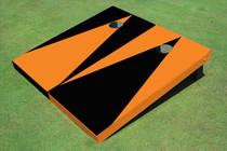 Black And Orange Alternating Triangle No Stripe Custom Cornhole Board