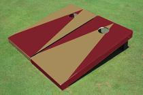 Dark Gold And Maroon Alternating Triangle No Stripe Custom Cornhole Board