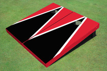 Black And Red Matching Triangle Custom Cornhole Board