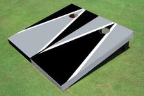 Black And Gray Alternating Triangle Custom Cornhole Board