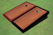 Rosewood Stained Center Maroon And Black Border Cornhole Board
