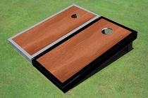 Rosewood Stained Center Gray And Black Border Cornhole Board