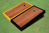 Rosewood Stained Center Yellow And Black Border Cornhole Board