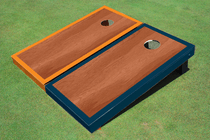 Rosewood Stained Center Navy And Orange Border Cornhole Board