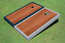 Rosewood Stained Center Navy And Gray Border Cornhole Board