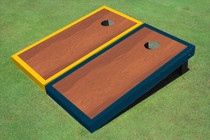 Rosewood Stained Center Navy And Yellow Border Cornhole Board