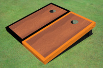 Rosewood Stained Center Orange And Black Border Cornhole Board