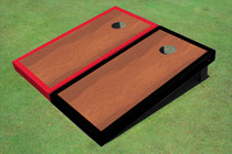 Rosewood Stained Center Red And Black Border Cornhole Board