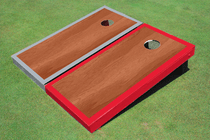 Rosewood Stained Center Red And Gray Border Cornhole Board