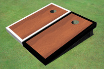 Rosewood Stained Center White And Black Border Cornhole Board